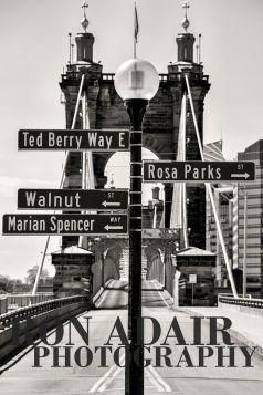 Signs at the John Roebling Bridge