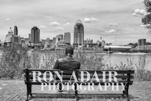 View of downtown Cincinnati from Kentucky park bench